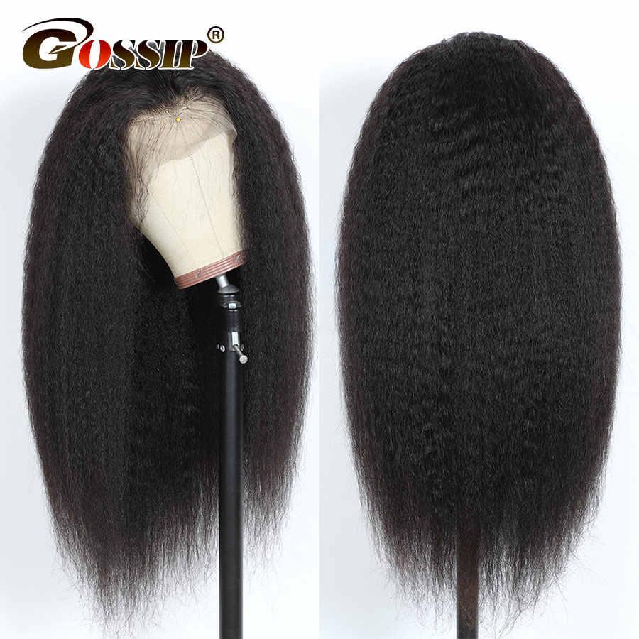 Peluca recta rizada 13x4 pelucas frontales de encaje sin pegamento para mujeres negras pelucas frontales de encaje brasileño Gossip 150% Density Remy