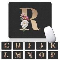 Oro nombre inicial alfombrilla para el ratón con patrón estudiante alfombrilla de ratón de ordenador de cuero de la PU impermeable Bloc de notas almohadilla para oficina alfombra de Tablet