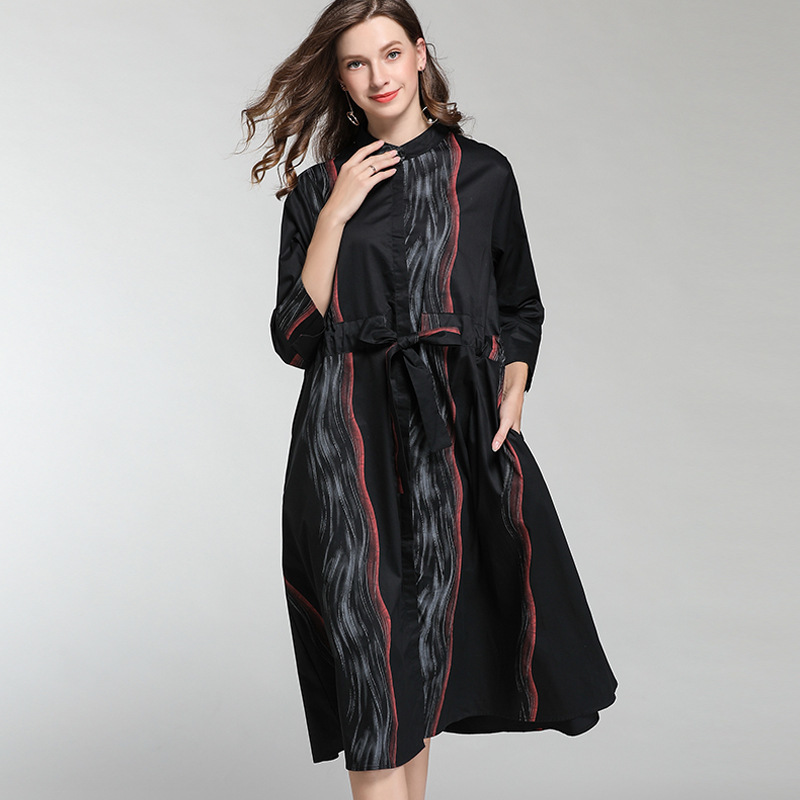 LANMREM 2020 New Fashion Personality Print Striped Stand Collar Shirt Type Dress Female's Loose Large Size Clothse Vestido YF904