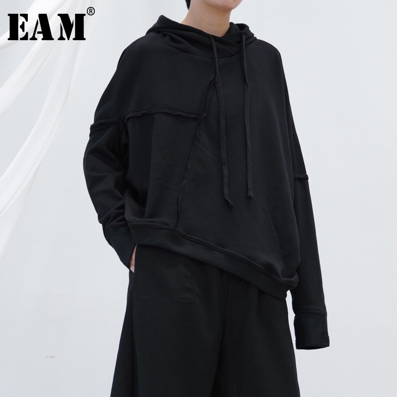 [EAM] Black Asymmetrical  Loose Fit Sweatshirt New Hooded Long Sleeve Women Big Size Fashion Tide Spring Autumn 2020 1H042