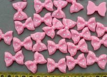 150 шт розовые или указанные цвета кабошоны в горошек с бантом