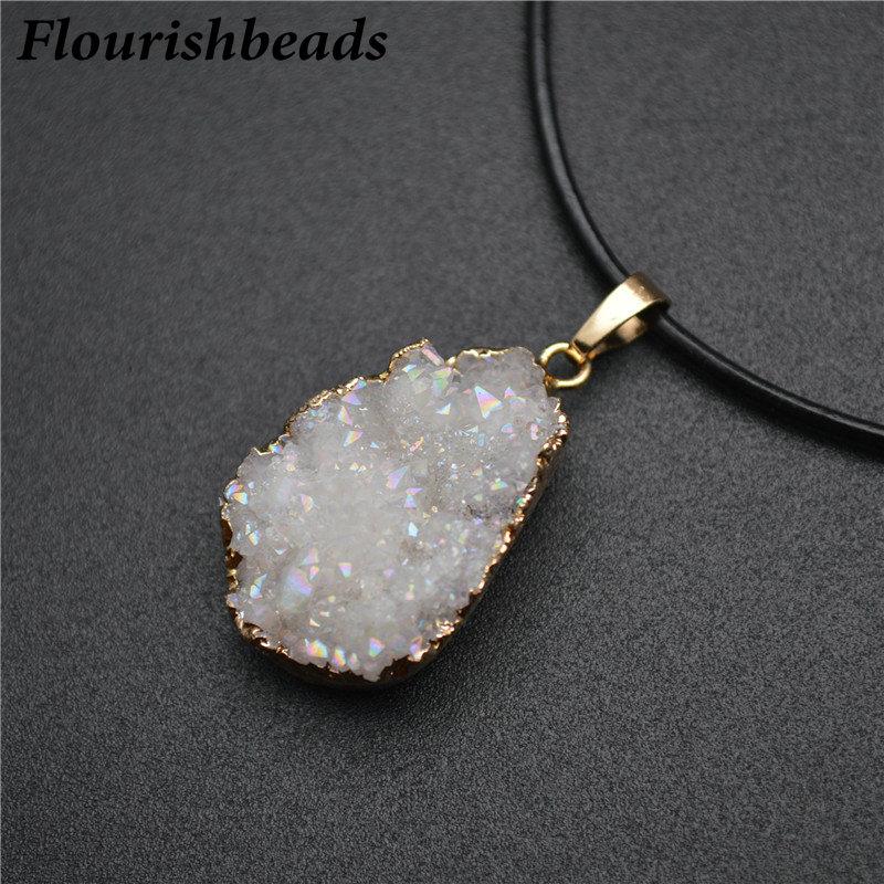 Natural Stone Unique Agate Quartz Slice Pendant Necklace For Women Jewelry Gift
