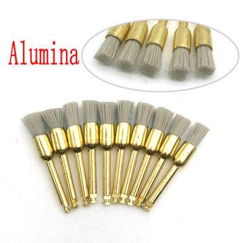 10Pcs Dental Polishing Brush Alumina Material Latch Flat Sharp Bowl Type Teeth Polisher Prophy Brush for Contra Angle Handpiece tanie i dobre opinie Xceldent