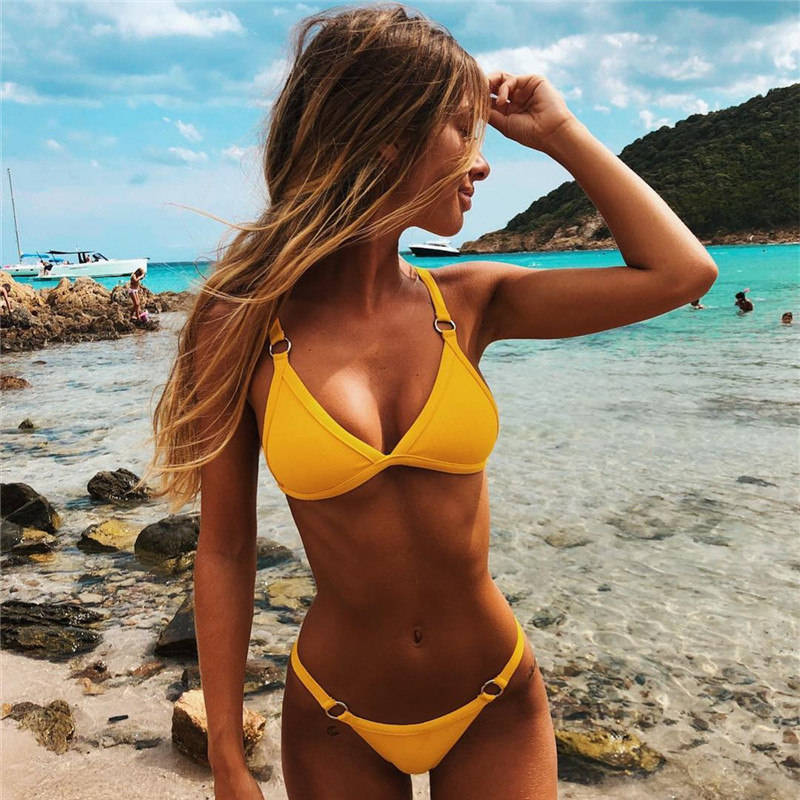 Sex Micro Thong Triangle Bikinis Female Swimsuit Solid Color Push Up Swimwear Women Bikini Set 2020 Brazilian Metal Ring Biquini