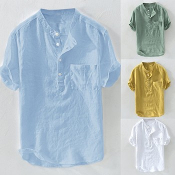 Men's Summer New Pure Cotton Hemp Button Short Sleeves Fashion Large Blouse Top 2020 New Fashion Shirts For Men Plus Size 1