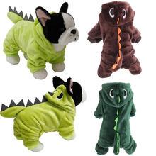 Милый комбинезон для собак забавная Одежда с динозаврами Зимний