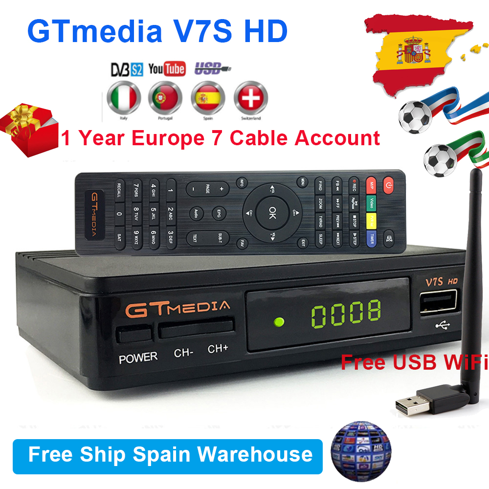 Original GTmedia V7S HD Satellite TV Receiver With USB WiFi DVB-S2 V7 Satellite Receptor Support Europe Cable Account Freesat V7