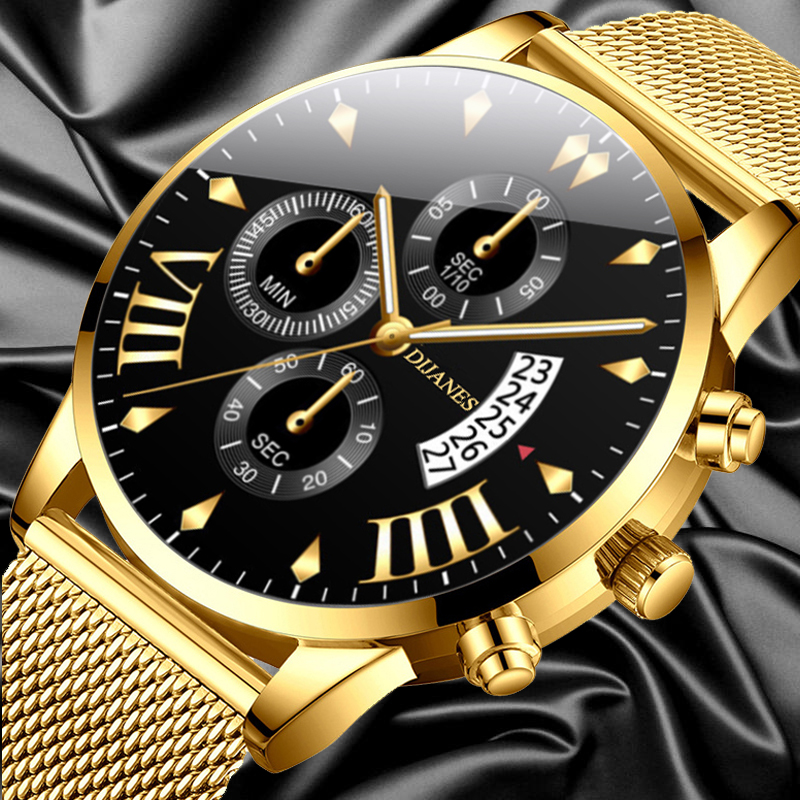 Classic Business Men Watch Fashion Luxury Watches Stainless Steel Mesh Calendar Date Gold Quartz Wristwatch Relogio Feminino