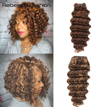 Rebecca Deep Wave Brazilian Hair Weave Bundles Remy 5 Colors Human Hair Bundles 100g Brown Blonde For Salon Hair Extensions