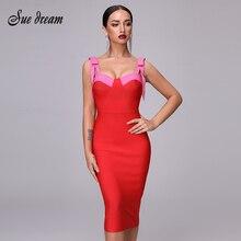 Di alta Qualità Sexy Rosso Vestito Dalla Fasciatura Del Partito Di Natale 2020 Nuovo Autunno Donne di Modo Elegante Del Partito di Spaghetti Arco Vestito Aderente