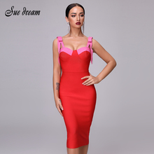High Quality Sexy Red Party Bandage Christmas Dress 2020 New Autum WomenS Fashion Elegant Party Spaghetti Bow Bodycon Dress