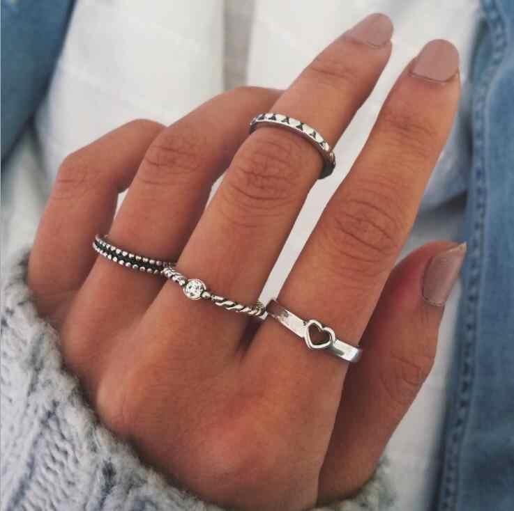 ชุดแหวนสำหรับสตรีแฟชั่น Metallic Gold Silver หัวใจอัญมณี Constellation Bodomia Moon Vintage Gold Silver Zircon