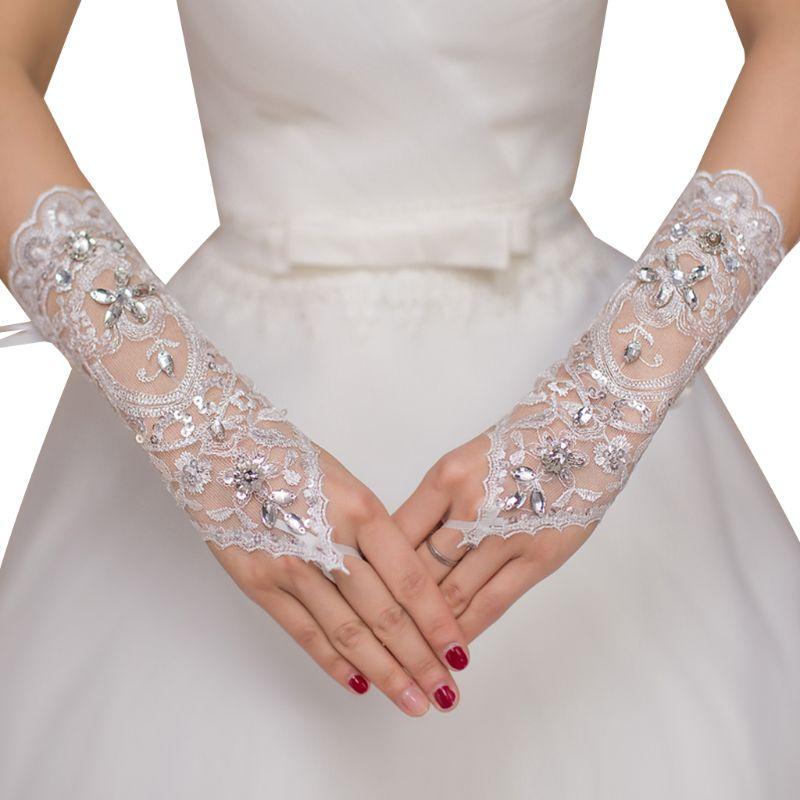 Womens Sheer Short Wedding Gloves Floral Lace Water Drop Rhinestone Criss Cross Ribbon Bandage Bridal Fingerless Mittens