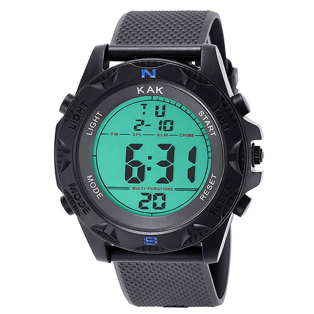 Electronic Watch Men Women KAK Unisex Students Adjustable Strap Backlight Big Dial Sports Digital Wrist Watch Relogio-masculino