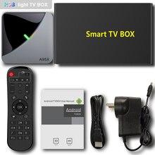 ТВ приставка A95X F3 Air, ТВ приставка S905X3, 4 Гб ОЗУ, 64 Гб ПЗУ, Wi Fi, bluetooth 4,0, Android 9,0, ТВ приставка с 6 RGB подсветкой, медиаплеер Netflix