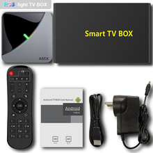 A95X F3 אוויר טלוויזיה תיבת S905X3 4GB RAM 64GB ROM 5G WIFI bluetooth 4.0 אנדרואיד 9.0 סט למעלה תיבה עם 6 RGB אור מדיה נגן נטפליקס