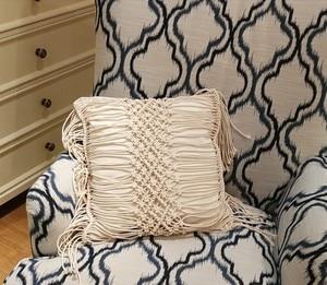 Image 5 - 45*45cm 100% Cotton Linen Macrame Hand woven Cotton Thread Pillow Covers Geometry Bohemia Cushion Covers Home Decor