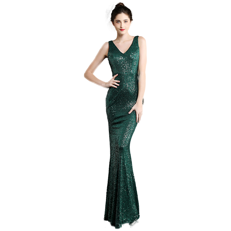 Evening Dress Long Sequined Mermaid Party Gowns Elegant V-neck Burgundy And Green Formal Evening Dresses Sequin Robe De Soiree