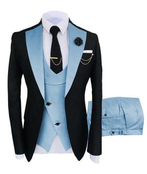 New Costume Slim Fit Men Suits Slim Fit Business Suits Groom Black Tuxedos for Formal Wedding Suits Jacket Pant Vest 3 Pieces 18