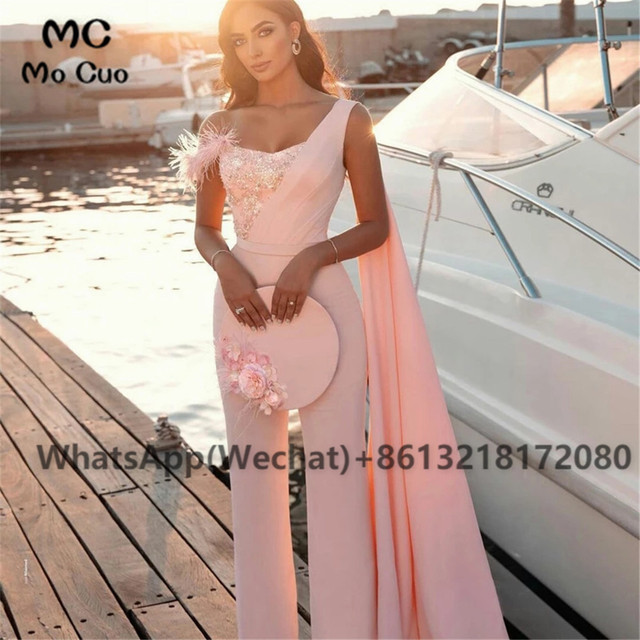 2021 Chic Jumpsuit Prom Dresses Pants One Shoulder Celebrity Dress Appliques Feather Sweetheart Prom Dress for women 4