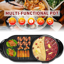 BBQ Griddle Barbecue-Pan Shabu-Pot Oven Smokeless Baking-Plate Hotpot Electric Non-Stick