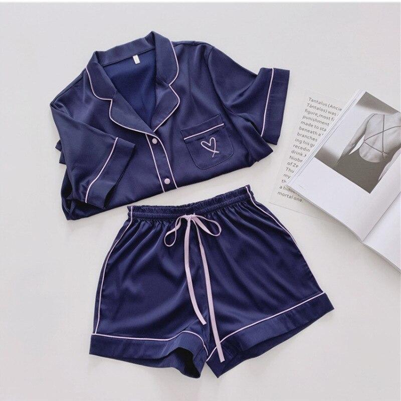 QWEEK Silk Pajamas For Women Home Wear Satin Pyjamas Women Pijama Femme Loungewear Sleepwear Short Sleeve Nightwear Set Pj Set