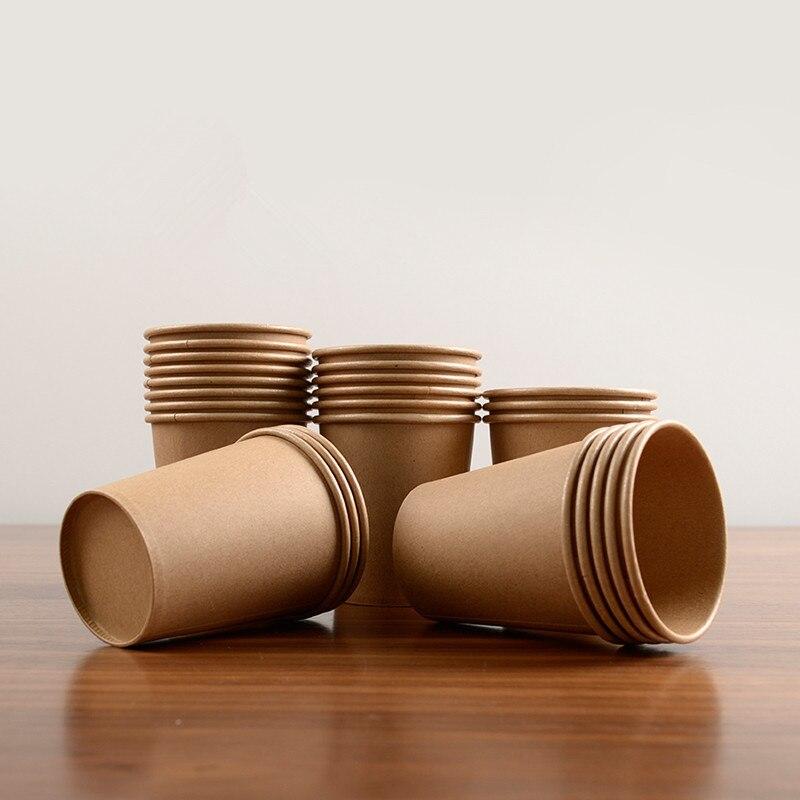 100 pièces/paquet 245ml jetables Kraft papier tasses tasse à café bricolage outil fête fournitures