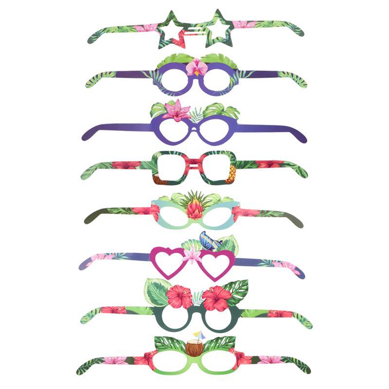 8 pièces fête d'anniversaire lunettes décor drôle papier lunettes lunettes de soleil accessoires décoratifs hawaï fête faveurs