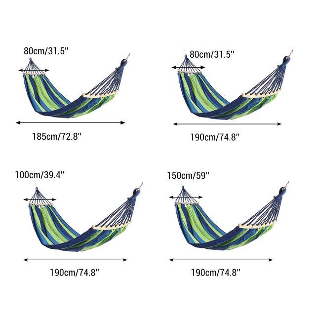 Portable Canvas Hammock Travelling Outdoor Picnic Wooden Swing Chair Camping Hanging Bed Garden Furniture with Backpack 6
