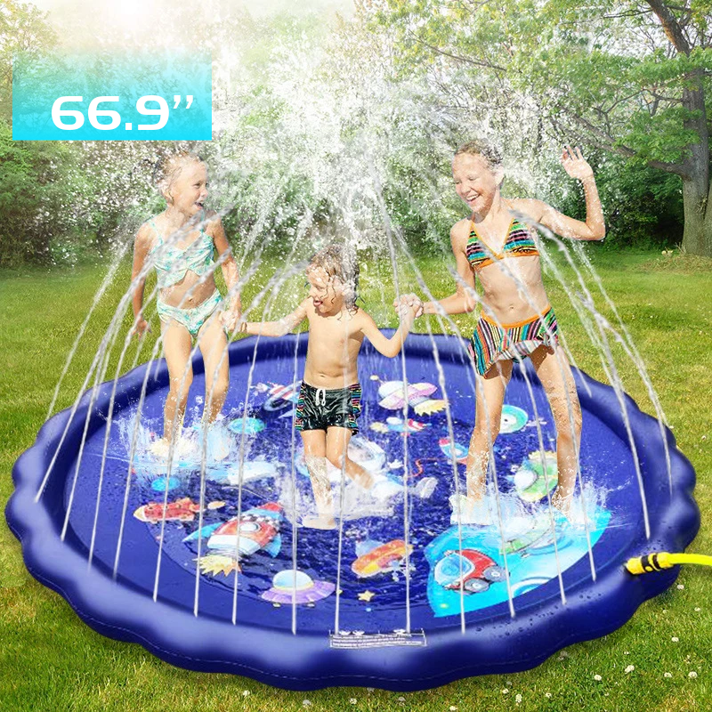 3-in-1 Sprinkler For Kids Splash Pad Wading Pool For Learning Kids' Sprinkler Pool 66'' Inflatable Water Toys Outdoor Swim Pool