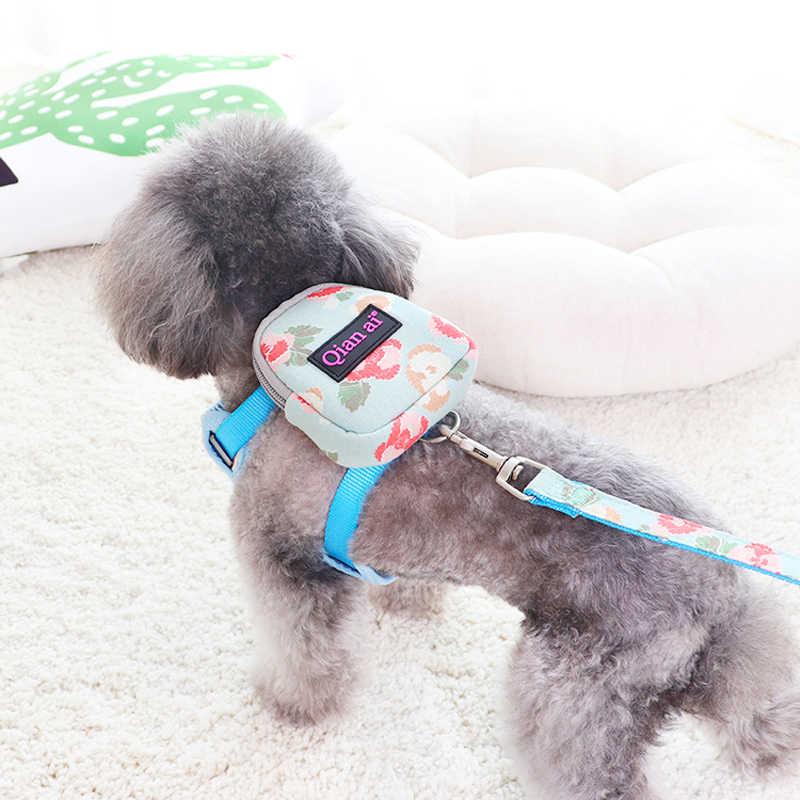 Floral Luxus Hund Harness Rucksack Mit Leine Set Haustier Katze Kleine Tier Kragen Mit Kleinen Geldbeutel Schule Tasche Träger Blei produkte