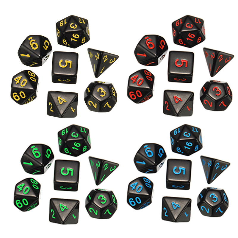 7 Pcs/set Dices 2-2.5cm Plastic Gaming Dice D4 D6 D8 D10 D12 D20 DND Dic Birthday Parties Board Game Drop Shipping image