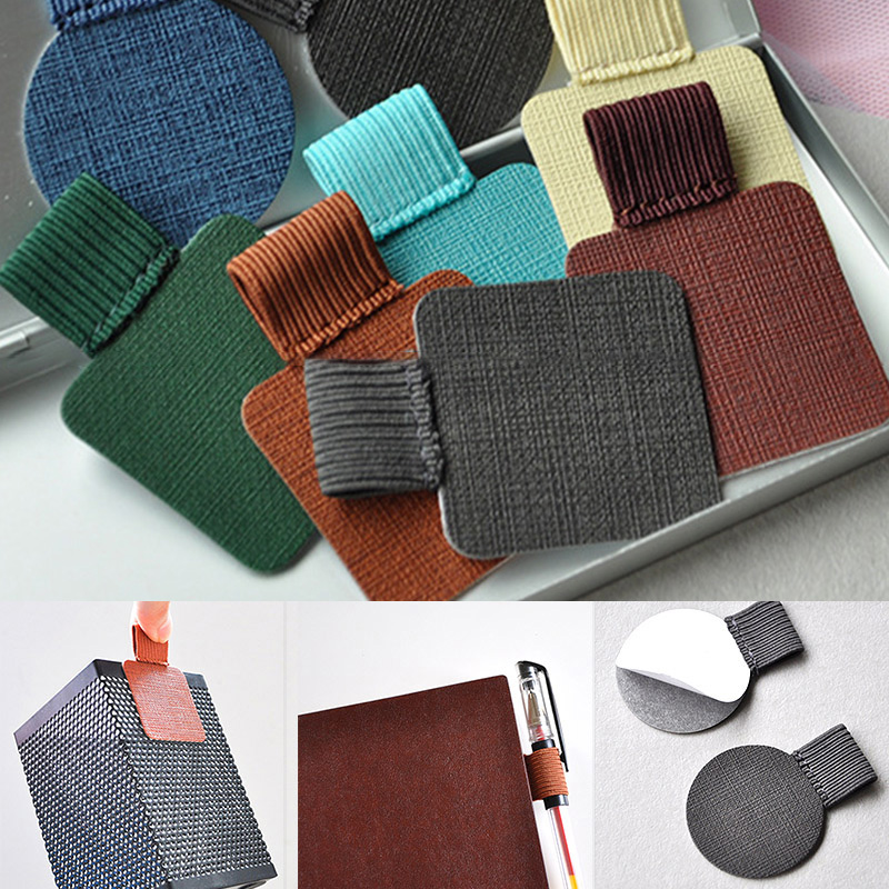 Self-Adhesive PU Leather Pen Clip Pencil Elastic Loop For Notebooks Journal Solid Color DJA99