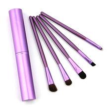 5Pcs Travel Makeup Brushset Portable Aluminum Tube Mini Eye Brush Eyeliner Eyeshadow Somked Make Up Brushes Set