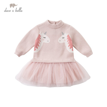 DBZ15304 dave bella winter baby girl's cute cartoon mesh sweater dress children fashion party dress kids infant lolita clothes image