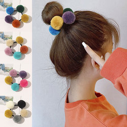 Cute Scrunchies Rubber Band Elastic Hair Band Small Plush Ball Pompom Hair Rope Ties Girls Ponytail Holder Hair Gum Accessories