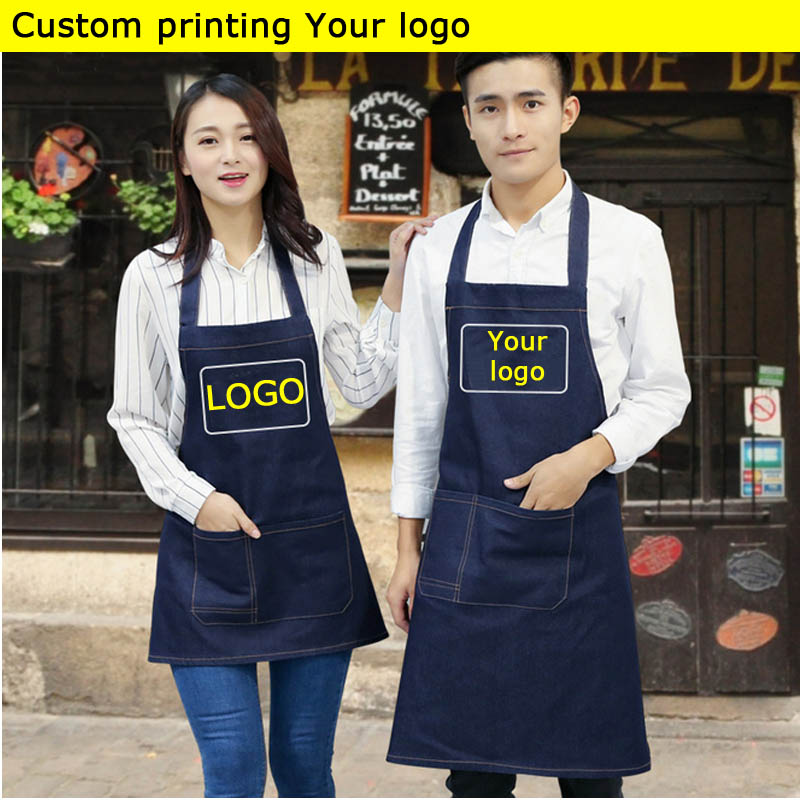 Aprons Jean-Color Coffee-Shop Custom-Printing Kitchen Barber Cooking Women For Bib Logo