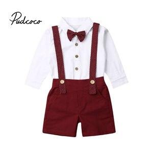 Maluch dzieci ubrania garnitury odzież dla dzieci chłopiec sukienka koszula + spodenki 2 sztuk 2019 jesień w stylu dżentelmena ubrania dla dzieci kostium