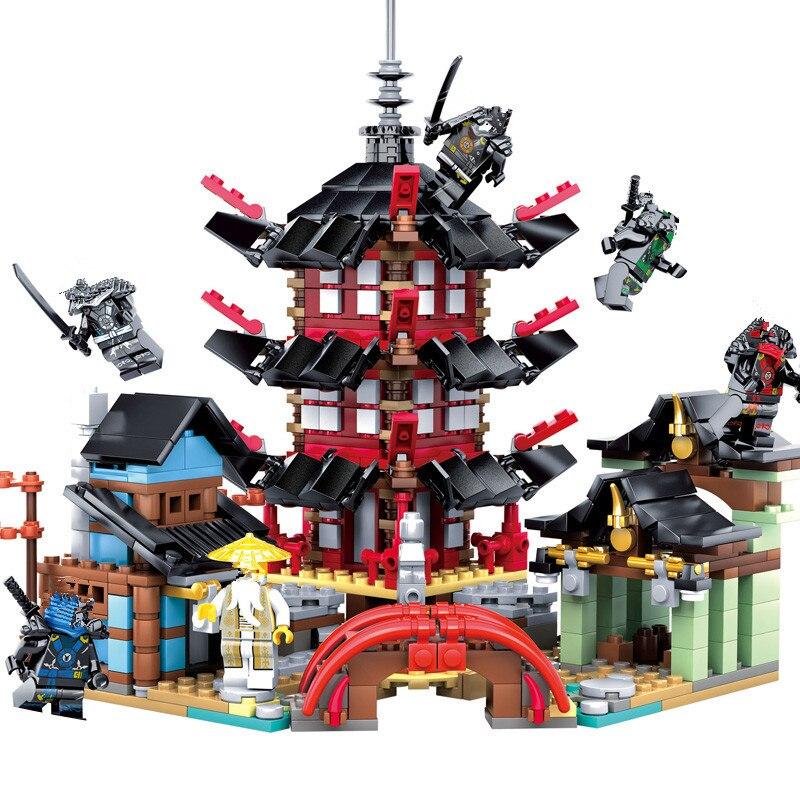 Juegos de bloques de construcción DIY de templo de Ninja 737 piezas juguetes educativos para niños Legoings compatibles 312 piezas 4in1 la Policía Marina edificio bloques legoing ciudad barco helicóptero policías figuras modelo ladrillos juguetes para los niños