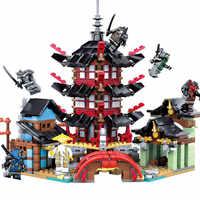 Ninja Tempel DIY Baustein Sets 737 stücke pädagogisches Spielzeug für Kinder Kompatibel Legoings ninjagoes