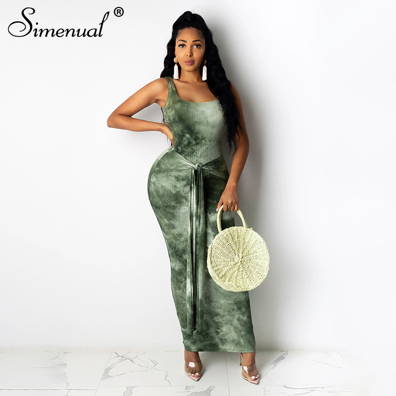 Simenual Tie Dye Bandage Ribbed Bodycon Maxi Dresses Women Sleeveless Knitted Fashion 2020 Summer Clubwear Skinny Party Dress