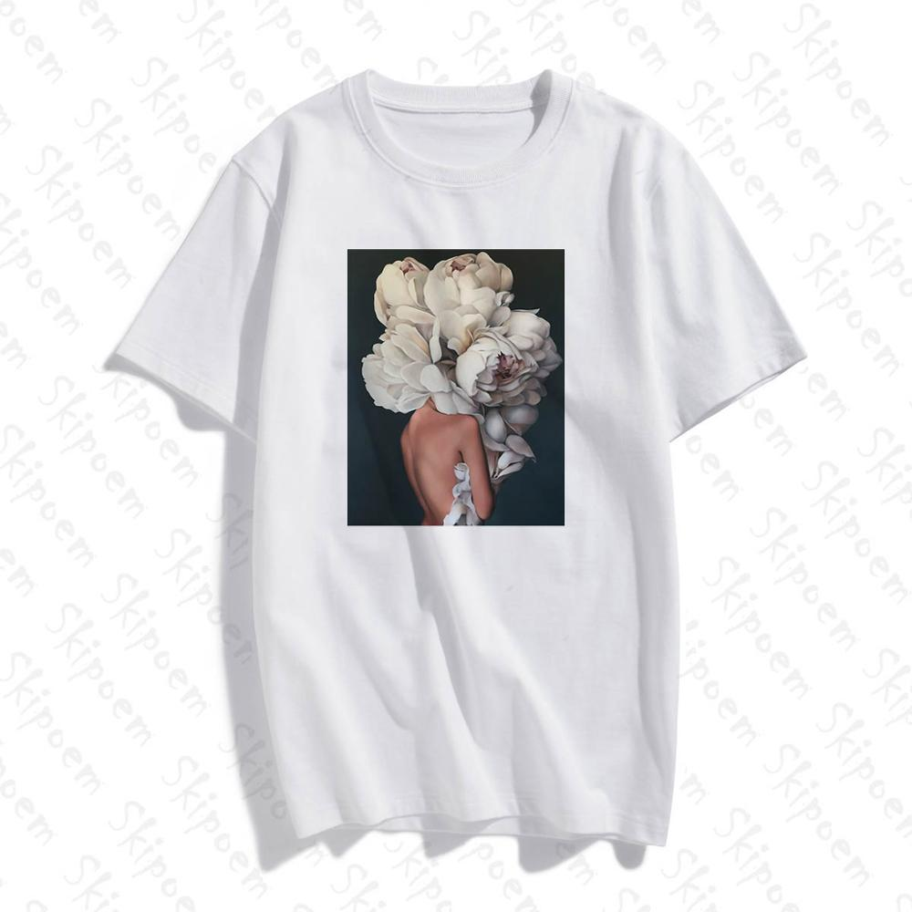 2020 Sexy T-shirt With Feathers And Flowers Harajuku T-shirt White Summer Women's Wear T-shirt Women Tee Shirt Femme Top Tees