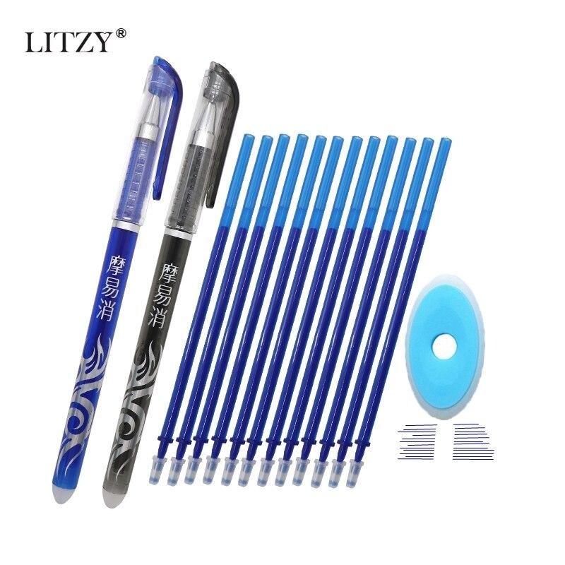 LITZY Hot Erasable Pen Refill 12Pcs/Set Office Gel Pen 0.5mm Rod Magic Erasable Pen Pilot Blue/Black Ink School Stationery Gift