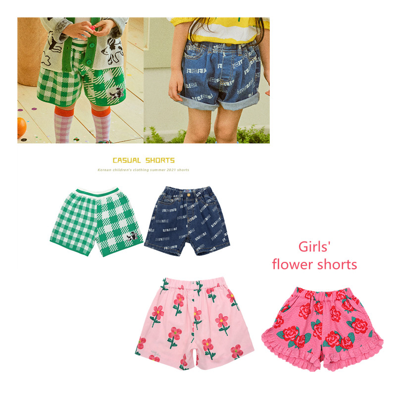 Summer Children's Shorts Korean Cartoon Boy Green Plaid Letter Jeans Fashion Casual Girl Flower Pink Lace Shorts 21 New Products