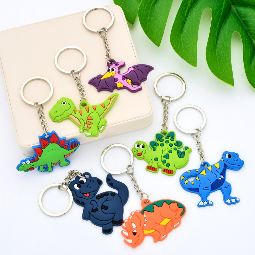 Vicney Cute Dinosaur Keychain Silicone Animal Keychain For Kids Girl Bts Keyring Gift For Friend Couple Keyholder