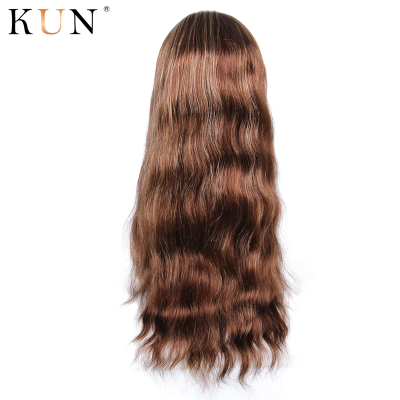 Ombre T4 27 Lace Front Human Hair Wigs 130 150% Density Wavy 13x4 Lace Front Wig Pre Plucked Bleached Knots With Baby Hair