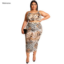 Summer Plus Size Women Two-Piece Set Leopard Print Halter Sleeveless Pencil Mid-Calf Skirt Two-Piece Set Casual Suits 19273(China)