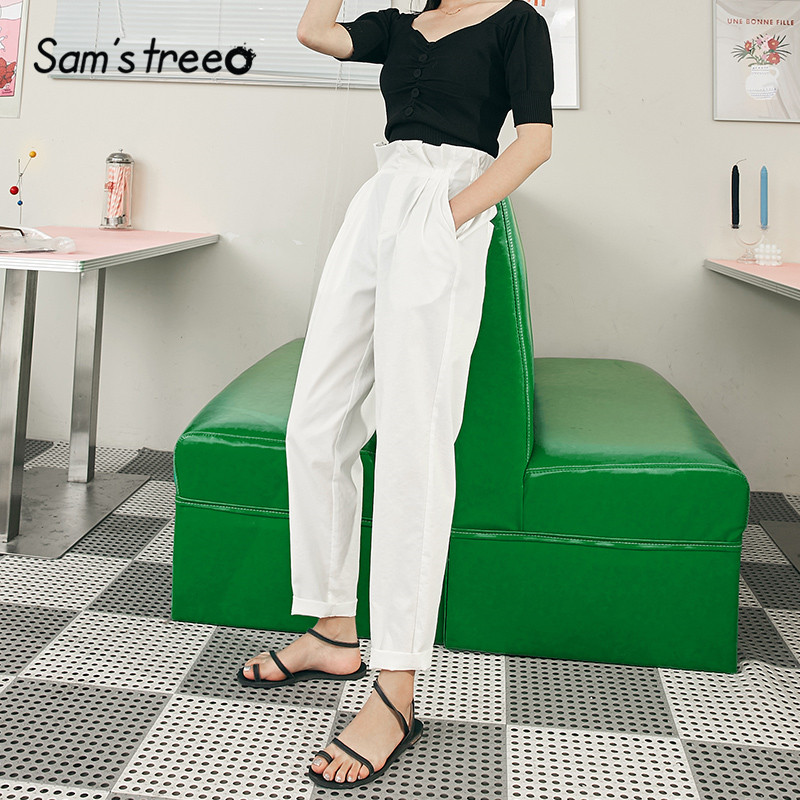 SAM'S TREE White Solid High Bud Waist Straight Casual Women Pants 2020 Summer Pure Korean Stylish Office Ladies Daily Trouser