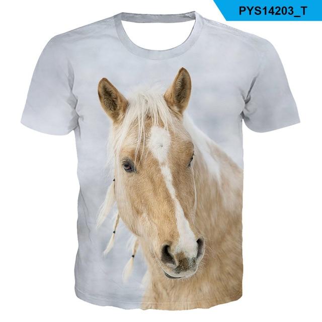 2021 Summer New kids boys O-neck Wearing a flower headband Horse T-shirt 3d Fashion T Shirt animal clothes Men Women Tshirt 5