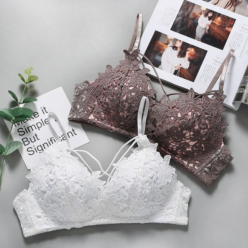 DERUILADY Lace Floral Embroidery Bralette Sexy Lingerie Comfort Seamless Adjusted Bras For Women Wireless Push Up Bra Underwear